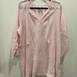 Old Navy pink embroidered tunic/beach coverup